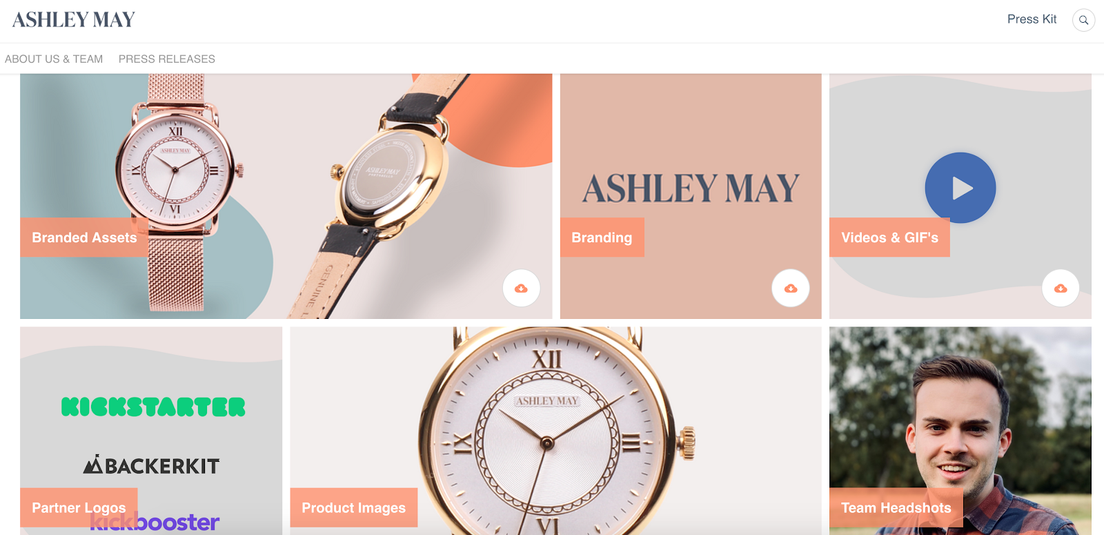 An online press kit created in Prowly by Ashley May