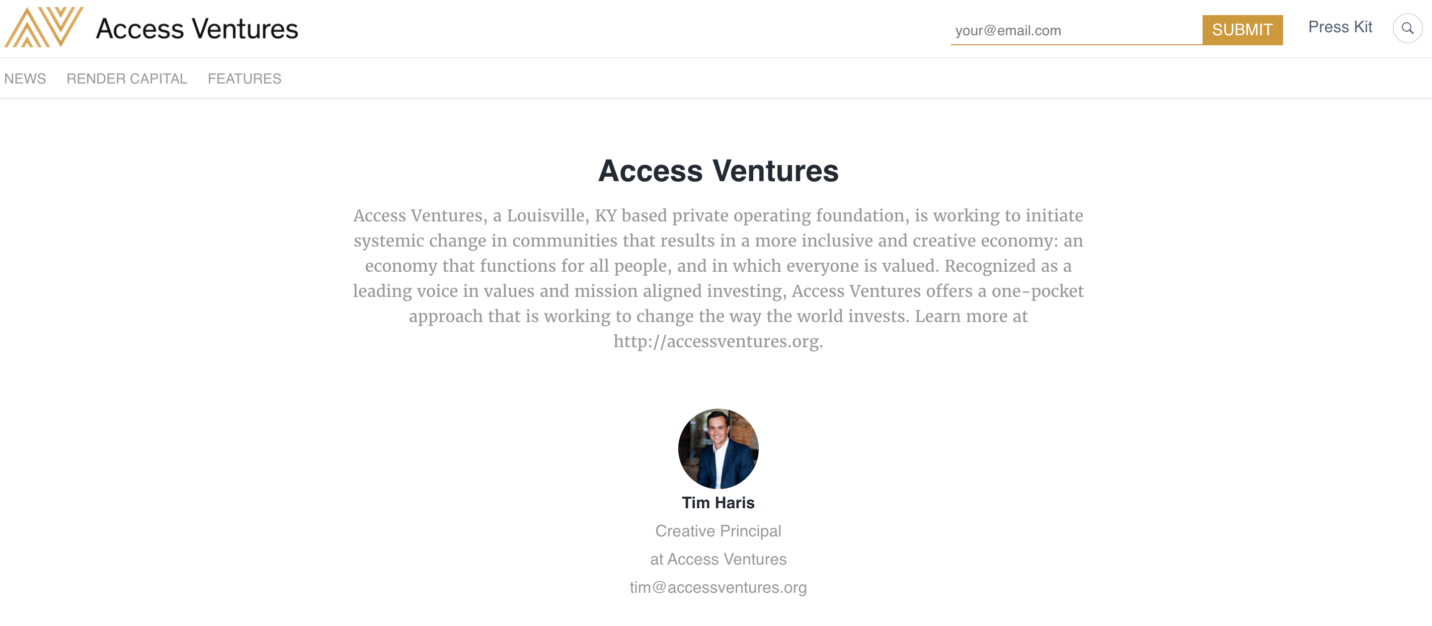 A press site created in Prowly by Access Ventures