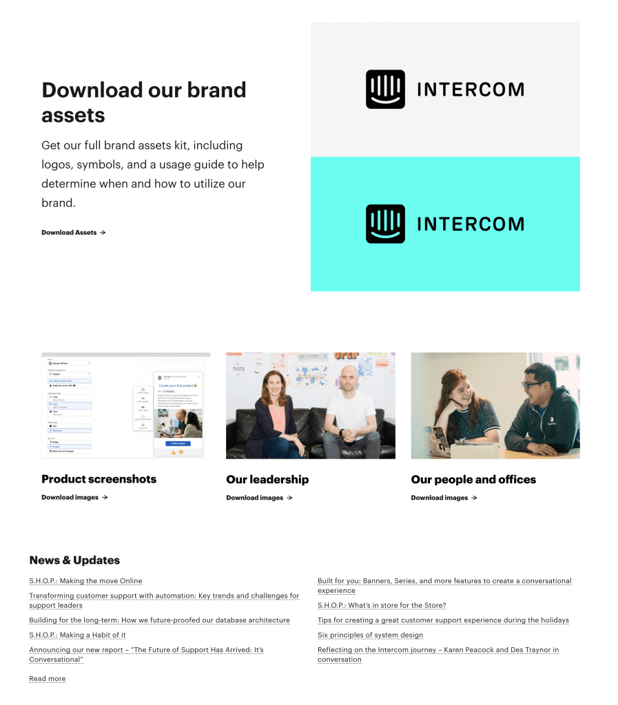 Example of an online newsroom created by Intercom