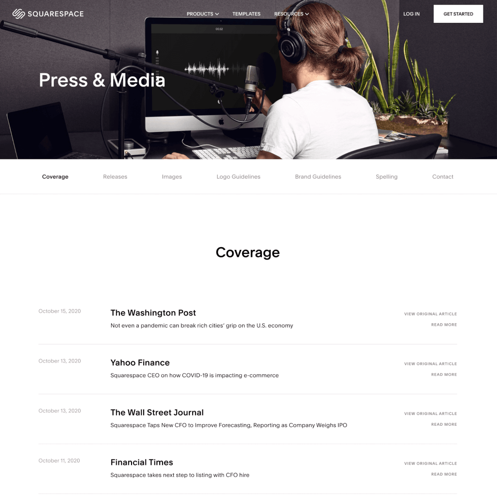 Example of an online newsroom created by Squarespace