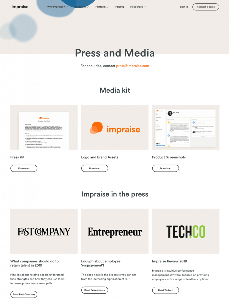Example of an online newsroom created by Impraise