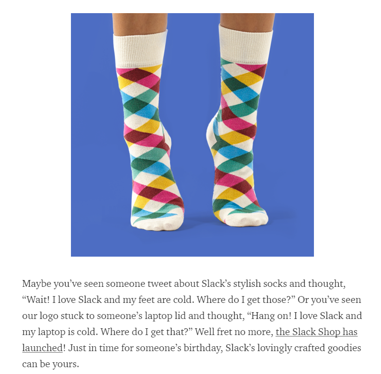 Slack's socks - brand commerce strategy