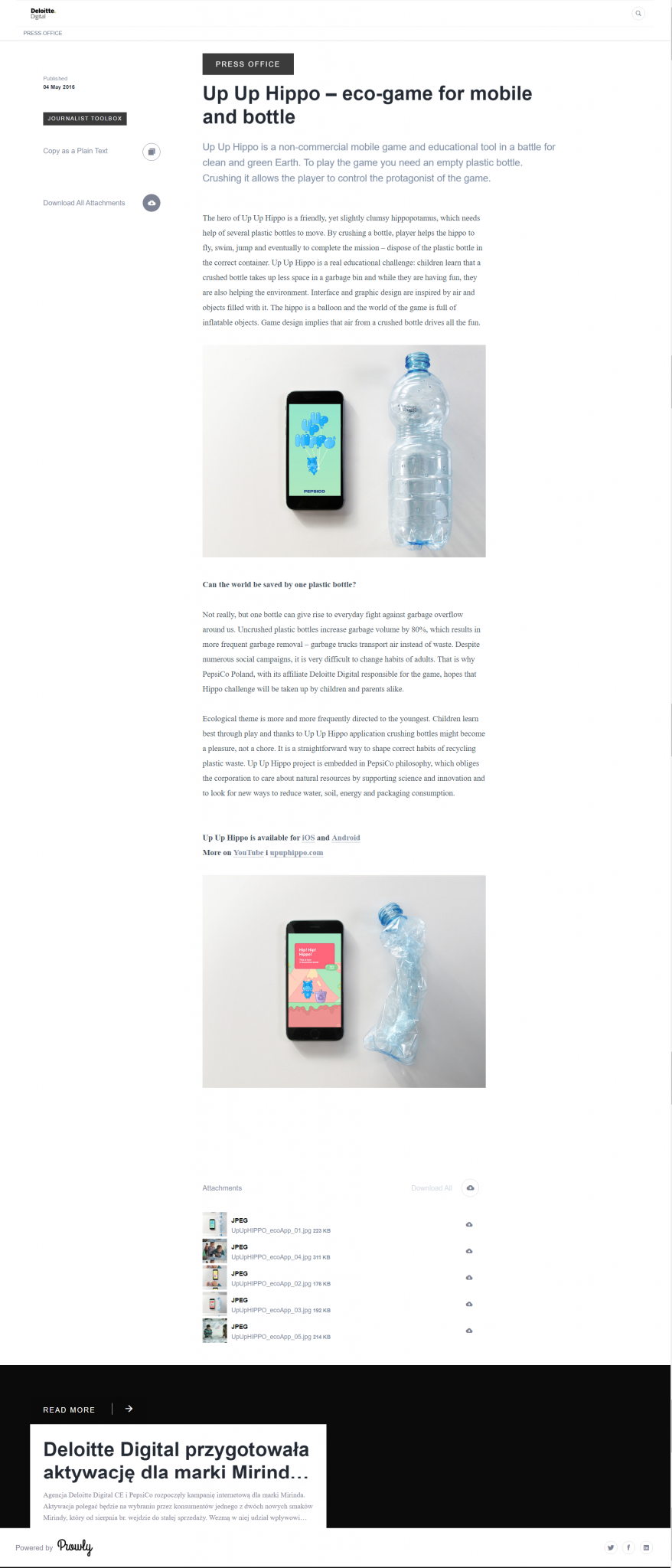 Up Up Hippo – eco game for mobile and bottle, Deloitte Digital CE Press Office