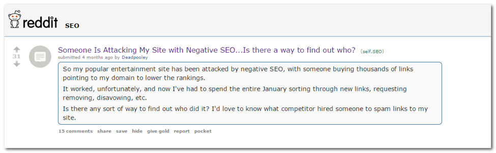 Negative SEO - backlinks in PR