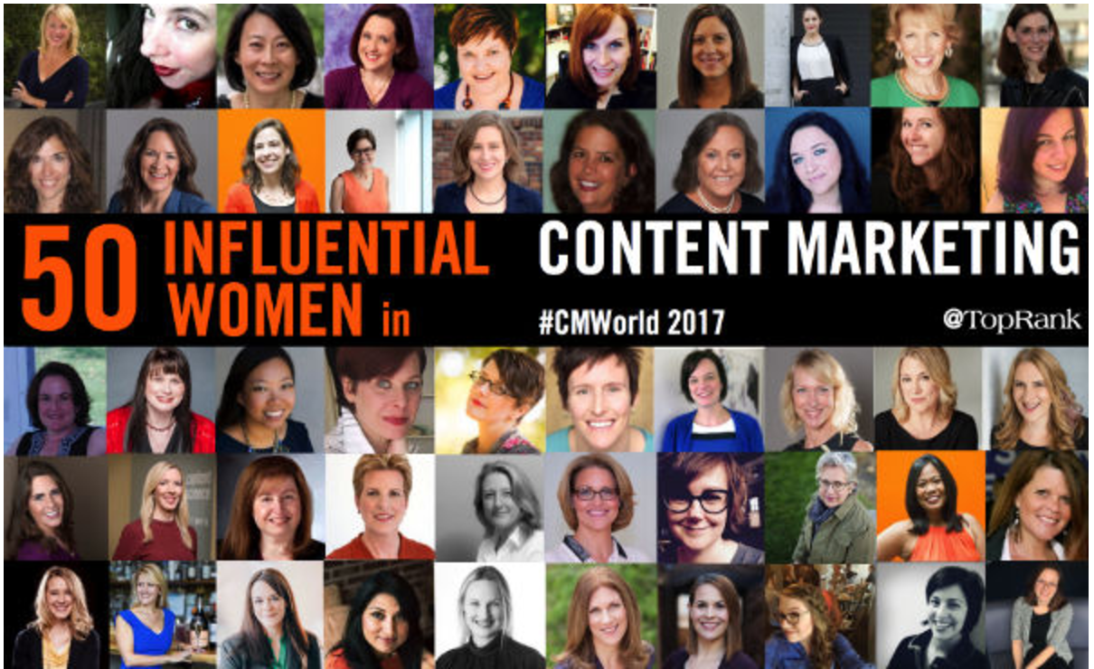50 most influential women in content marketing via Top Rank Marketing