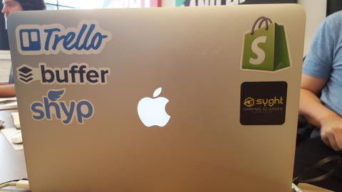 Brand logo stickers on laptop