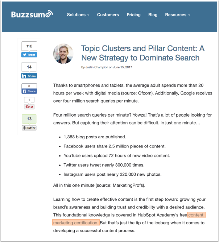 Promoting Content: Developing a Content Marketing Strategy (2 of 2): Buzzsumo