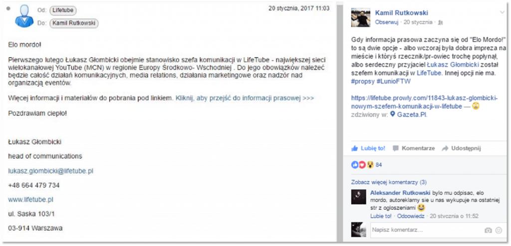 Wiadomość Łukasz Głombicki