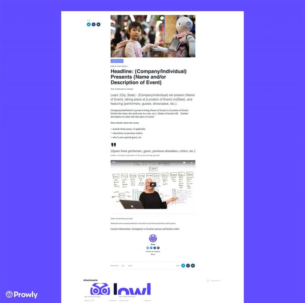 Event Press Release Template