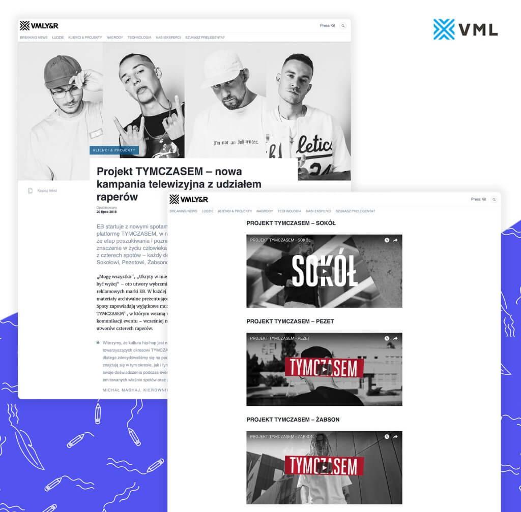 Dobra informacja prasowa zawiera również materiały video. Przykładowy news agencji VML o starcie projektu Tymczasem z materiałami video