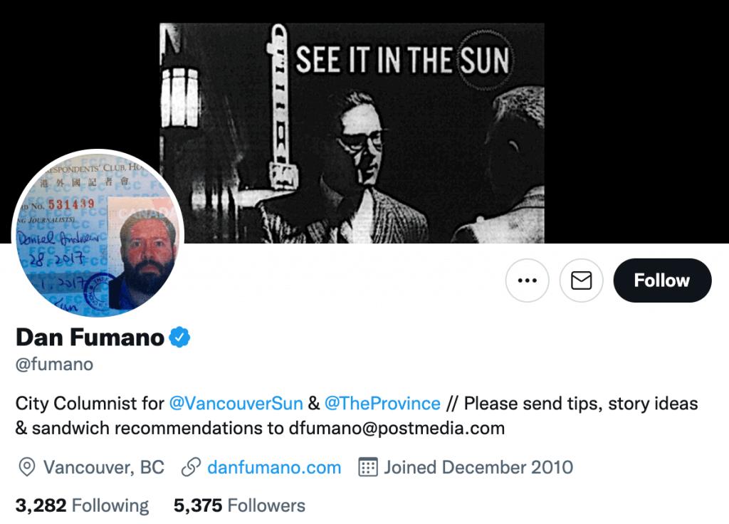 Dan Fumano - Top Canadian journalists
