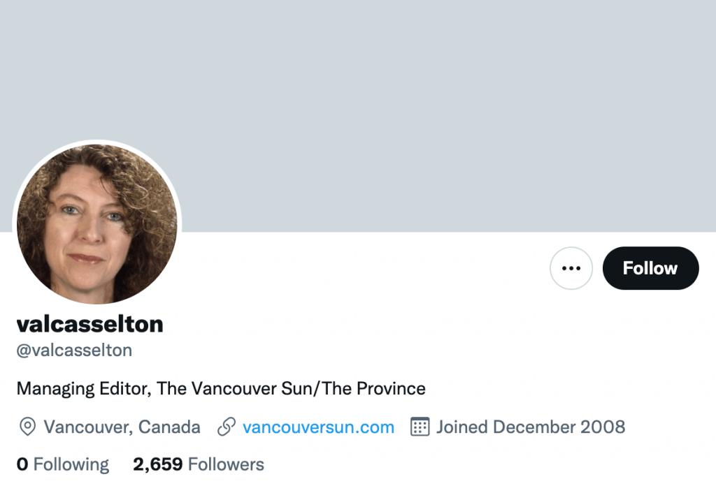 Valerie Casselton - Top Canadian media contacts