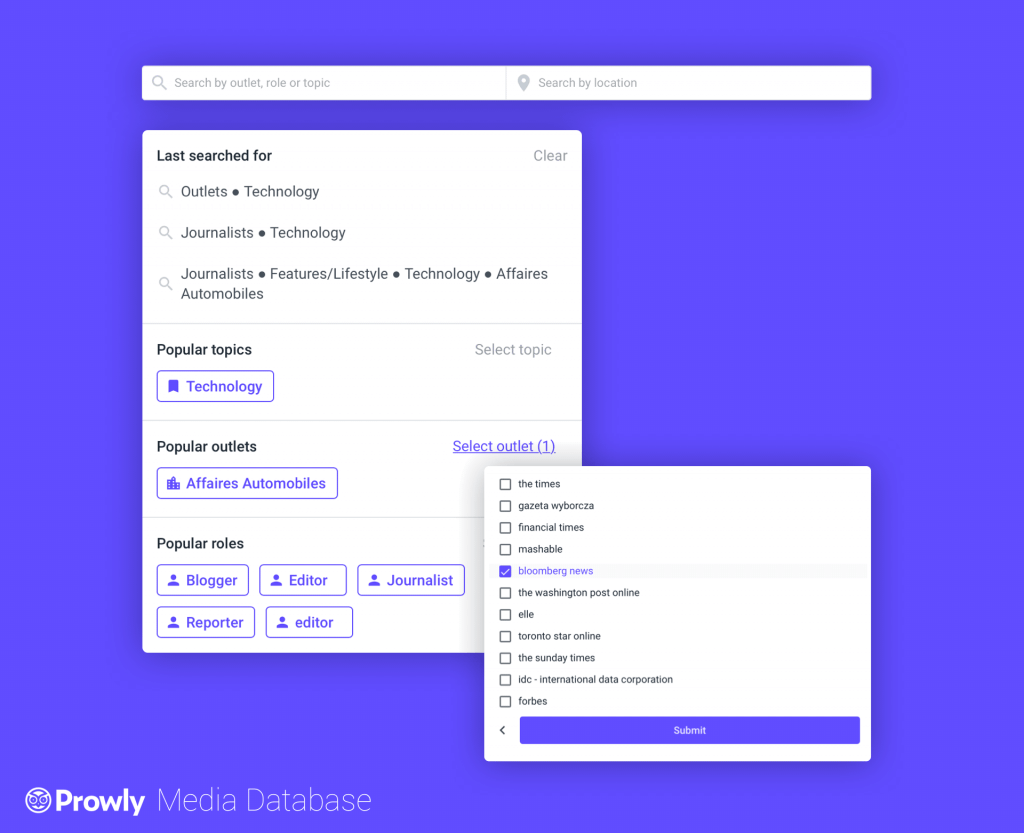 View of of available search filters in Prowly's media database