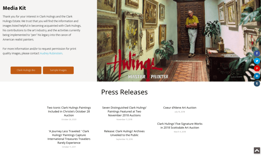An online press kit sample from Clark Hulings & the Clark Hulings Estate