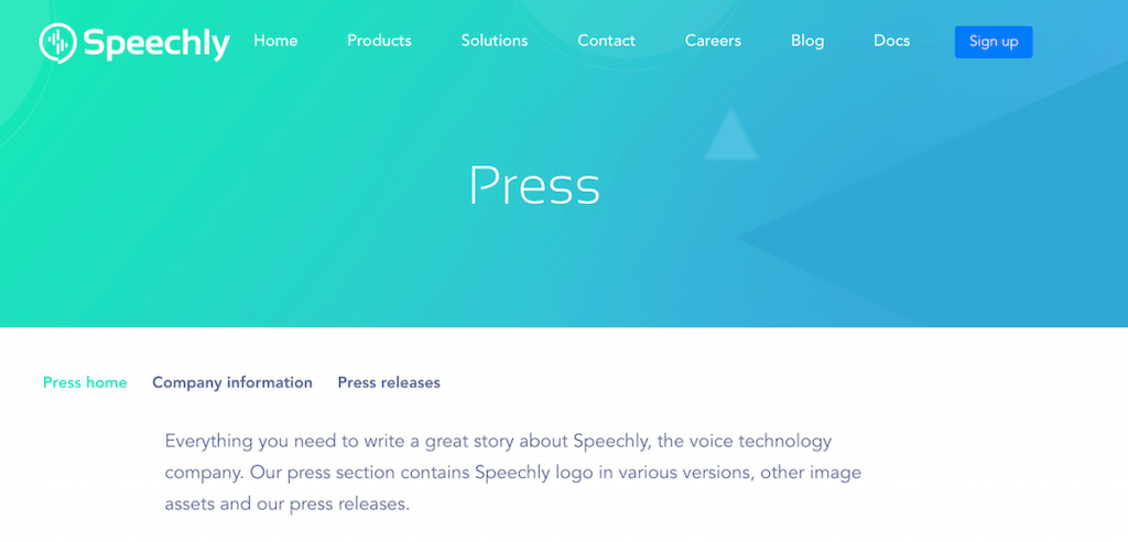 An online media kit example from Speechly