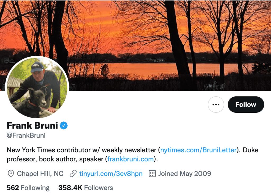 Frank Bruni - Top food journalists