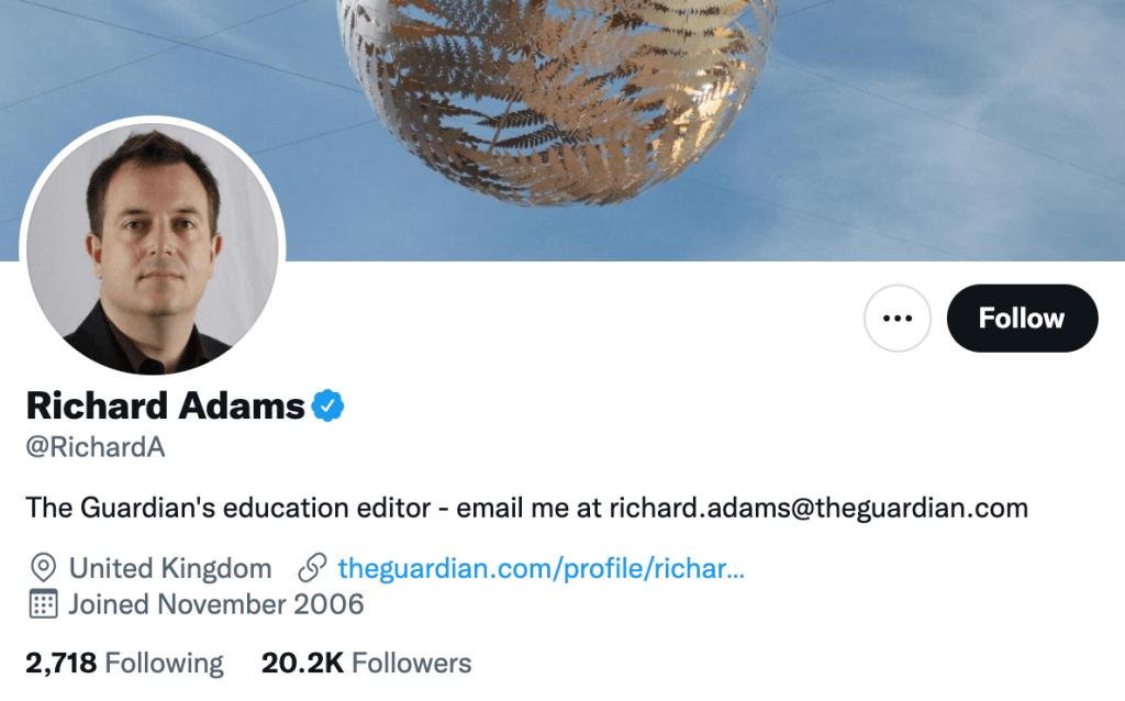 Richard Adams - Top education journalists