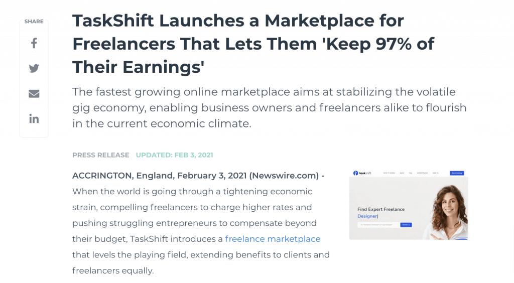 Press release example - TaskShift