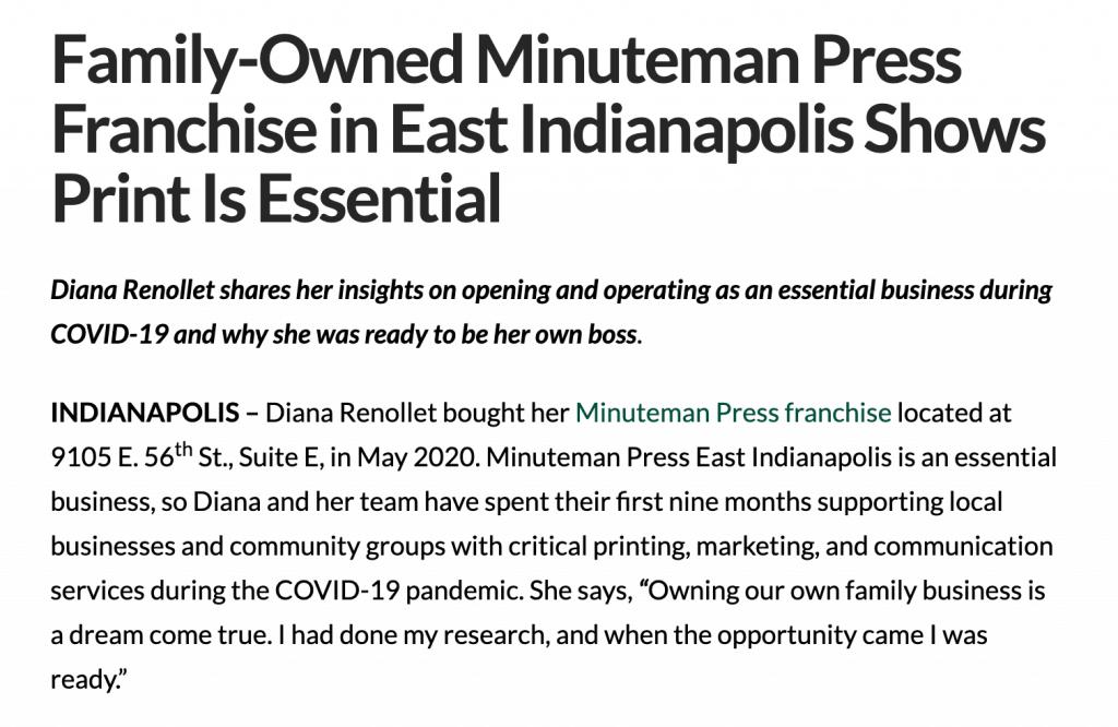 Press release example - Minuteman Press