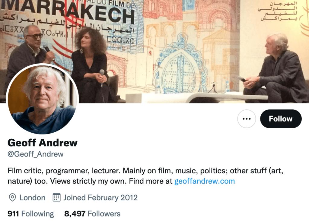 Geoff Andrew - Top movie journalist